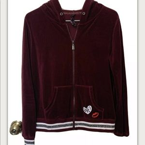 Betsey Johnson maroon velour full zip hoodie L